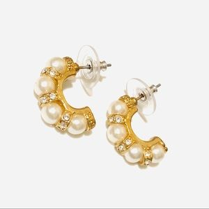 Pearl earrings with crystals Boutique jewelry NEW